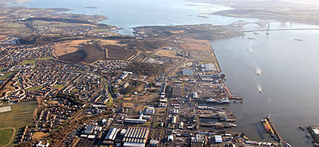 Aerial view of Port of Rosyth